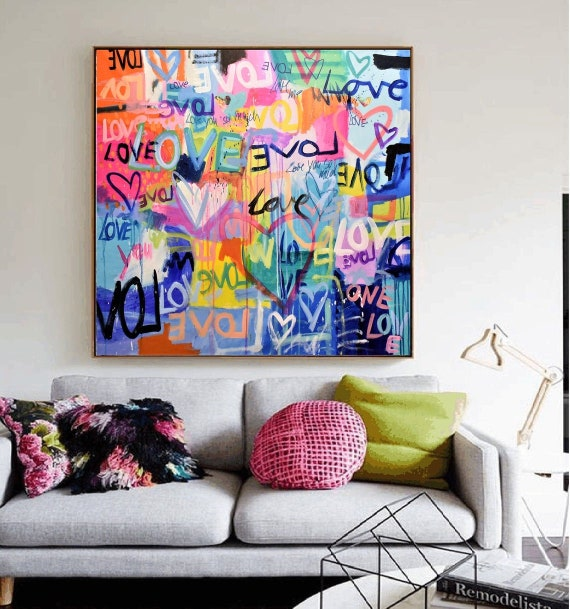 LOVE LOVE   abstract painting by jolina anthony oil painting