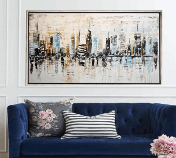 abstract painting city  by jolina anthony fast  shipping