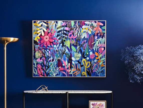 wild Flowers  original large  abstract painting by Jolina Anthony