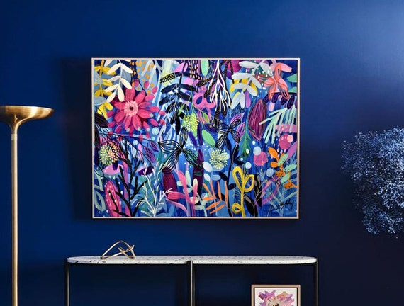 wild Flowers  colorful   abstract painting by Jolina Anthony