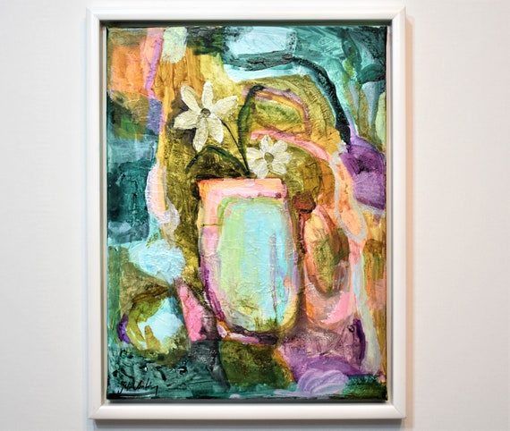 framed flower  abstract Art nice  abstract painting,nice painting on canvas  by Jolina Anthony