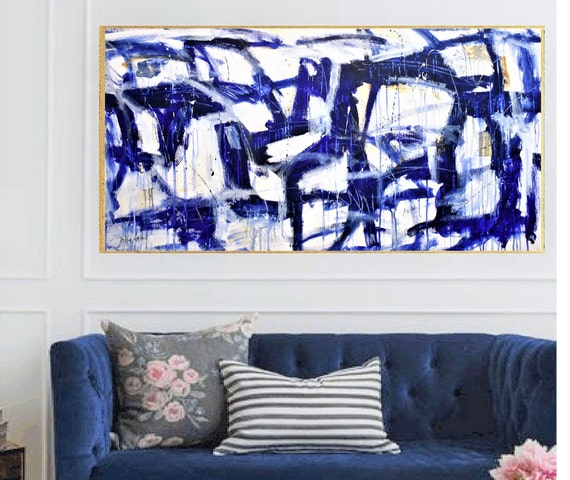 blue creme mixed  abstract painting colorful wall decor blue  original painting by  Jolina Anthony