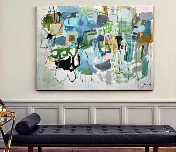 "60"" green blue  abstract painting  nice  Wall Art  by Jolina Anthony"