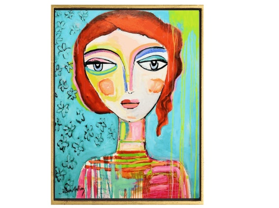 Colorful woman  abstract painting   modern ready to hang original painting,by   Jolina Anthony