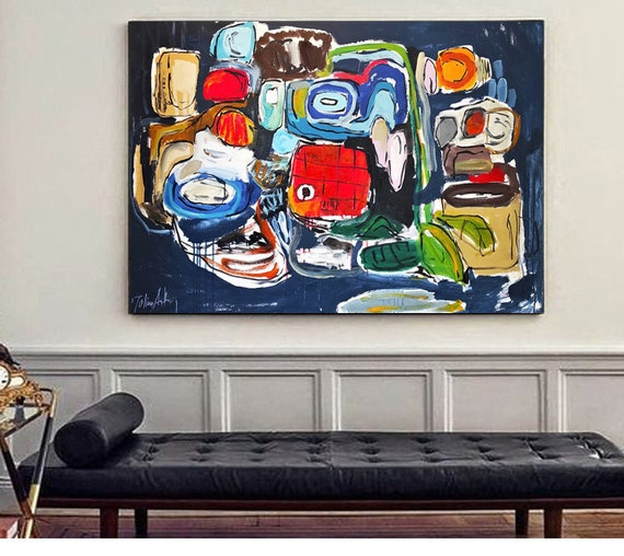 """colorful  abstract painting 60"""" large painting nice original abstract art by Jolina Anthony"""