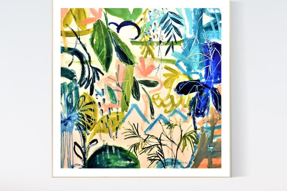 tropic garden  abstract Art nice  abstract painting, Art Print  by Jolina Anthony