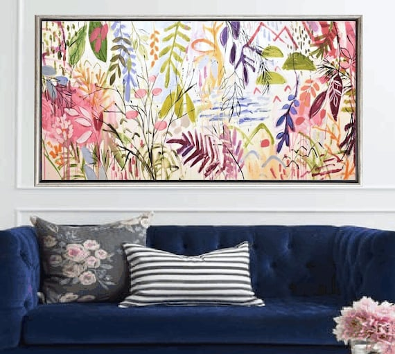 tropical original large  abstract painting by Jolina Anthony