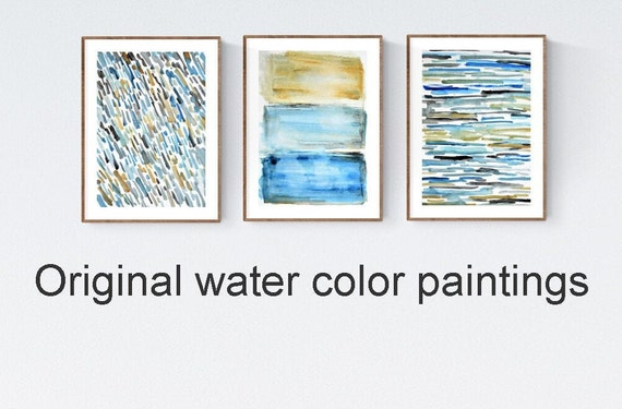 set  of 3   abstract  painting  nice water color  painting  by Jolina anthony