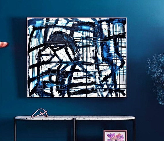 blue abstract Art white abstract  painting, Acrylic painting, large abstract painting