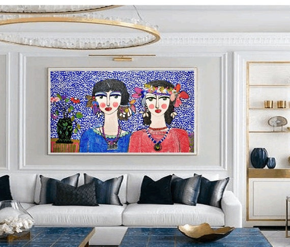 two   friends colorful women     abstract painting by jolina anthony oil painting