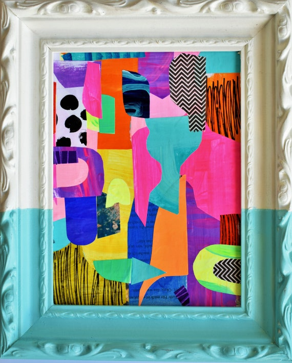 framed  abstract painting  , rosa pink original  abstract painting  by Jolina Anthony
