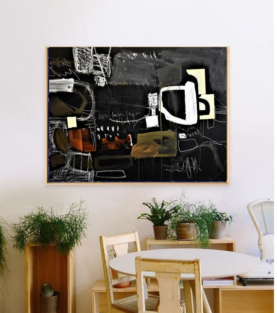 abstract painting black mixed media original painting  by Jolina Anthony