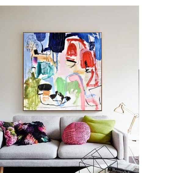 "40""x40""  colorful mixed materials   abstract painting by Jolina Anthony"