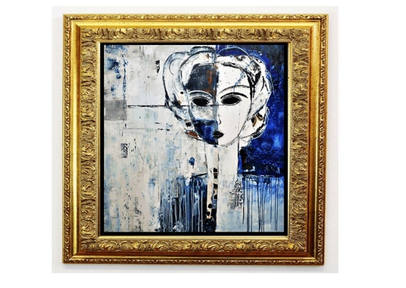 the women with black eyes   abstract painting nice  original painting by Jolina Anthony,