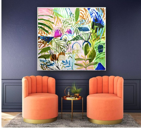tropic garden abstract  painting  , nice large  painting,colorful  abstract art   by  Jolina Anthony