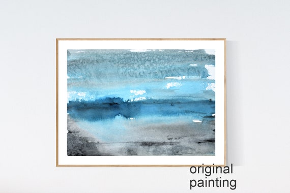 black blue   white abstract Painting   original painting , by Jolina Anthony