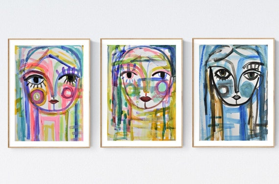 faces abstract Painting nice  original painting set of acrylic painting   jolina anthony