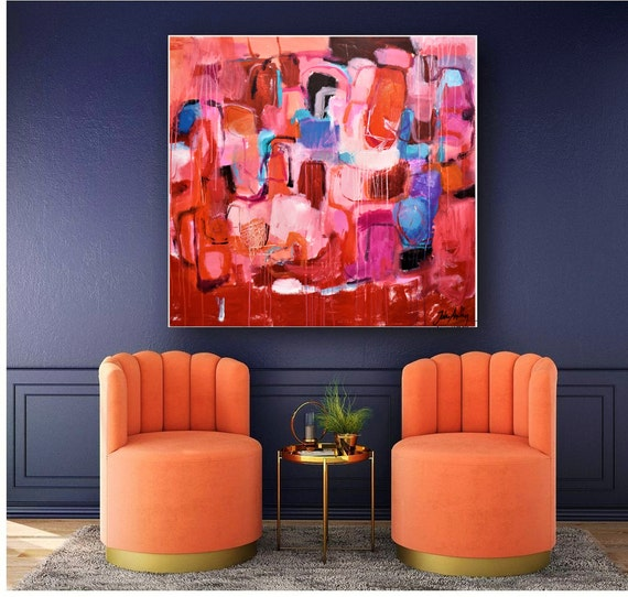 "40""x40""abstract painting, red  abstract Art nice Oil Painting red on canvas by Jolina Anthony"
