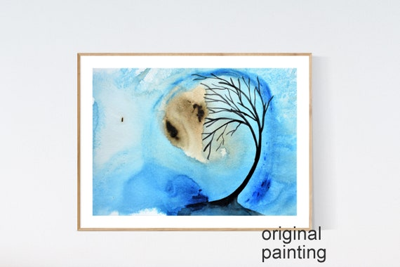 tree in watercolor abstract painting black   white   by   jolina anthony