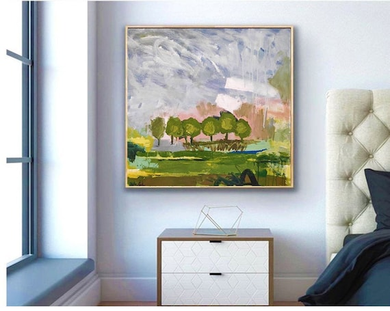 """palette knife Landscape  abstract painting 30"""" original painting  by Jolina Anthony"""