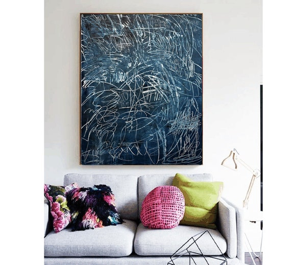abstract painting blue  original painting  by Jolina Anthony