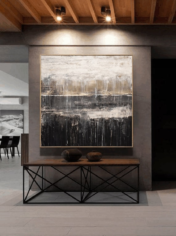 grey white  abstract painting very large original painting