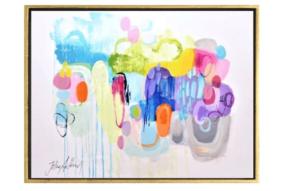 "40"" colorful    abstract  painting  very nice  painting by Jolina Anthony"