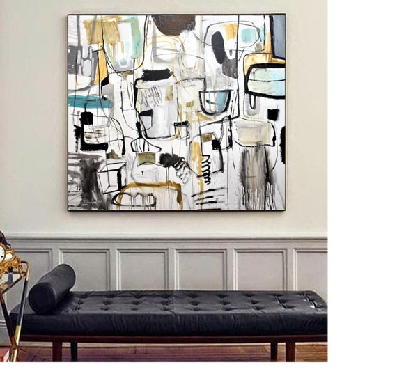 "60""x54"" mixed media abstract painting,  nice abstract art on canvas colorful painting,, nice original painting  by Jolina Anthony"