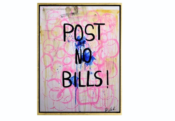 post no bills  abstract painting  nice original artwork pink large painting  white oil painting