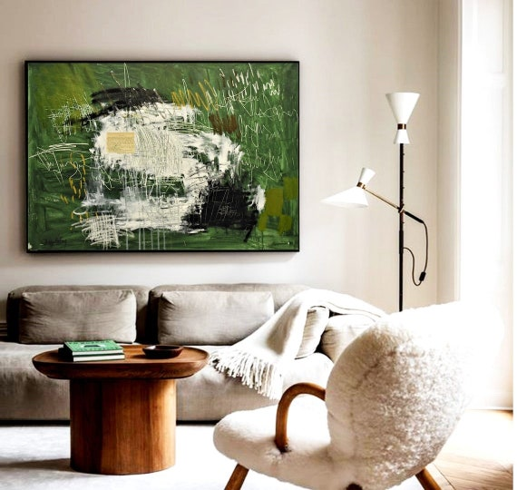 """40"""" Green white  abstract painting nice  original painting"""