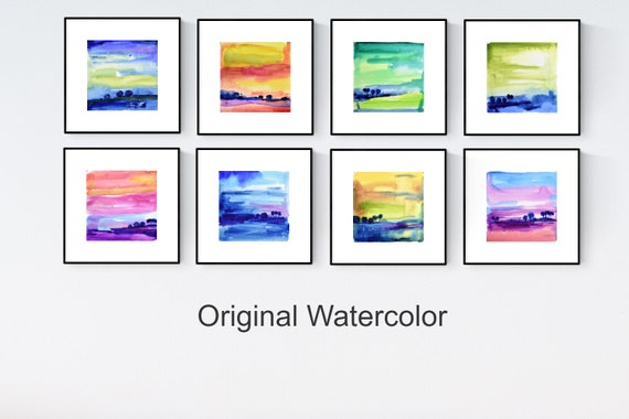 colorful landscape watercolor abstract Painting nice  original painting   jolina anthony
