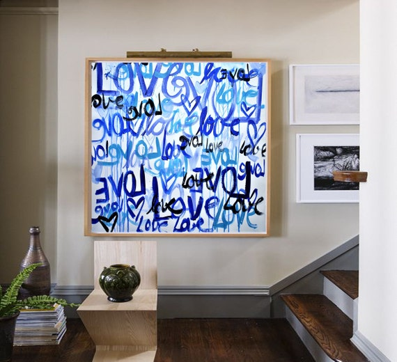 LOVE abstract painting colorful original painting  by Jolina Anthony