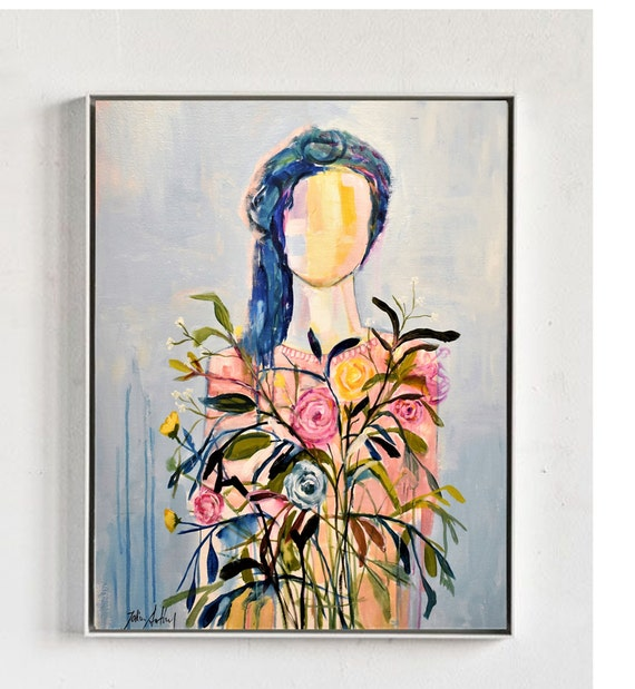 women with Flowers   abstract  painting  , nice painting  by  Jolina Anthony