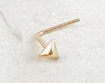 Nostril Jewelry Solid 9ct Gold Pyramid Nose Stud