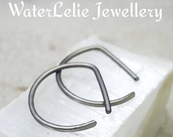Titanium hoops. 16G titanium hoop earrings. Gauged hoops. Titanium earrings. Minimalist earrings. Modern hoops. Geometric hoops.