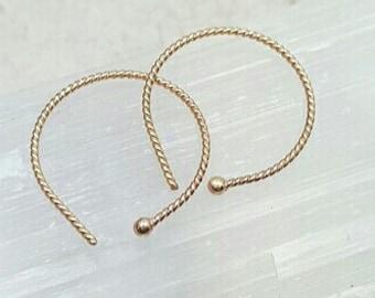 14k Gold hoops. 14k real gold earrings. Solid gold ball earrings. Simple earrings. Small 14k gold hoops. Twist hoops. Slipless reverse hoops