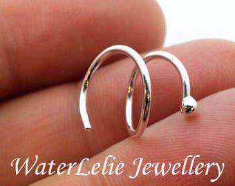 Sterling Silver double piercing spiral earring. Double piercing earring. two hole earrings. threader earring. Spiral hoops. Twist in earring