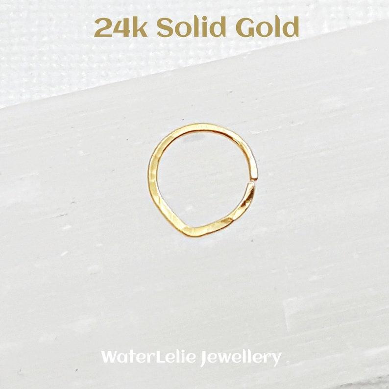 eaed991997c6a Solid 24k Gold nose ring. 24k gold septum ring. Solid Gold Nose ring. Gold  cartilage hoop. 20 gauge gold septum hoop. Hammered gold ring