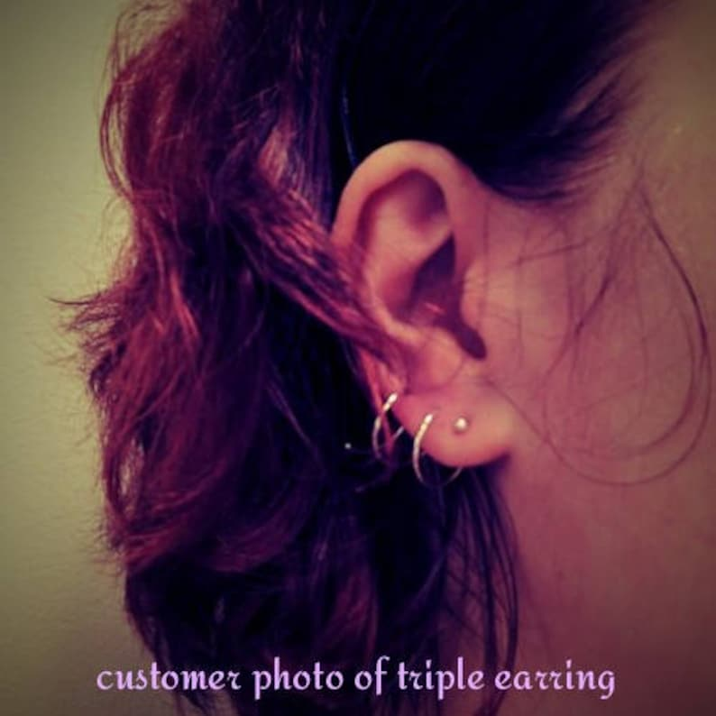 Two hole spiral Solid 10k Gold double piercing earring 10k yellow gold threader earring side by side piercing 10k gold spiral earring
