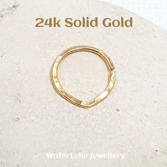 Solid 24k Gold Nose Ring 24k Gold Septum Ring Solid Gold Etsy