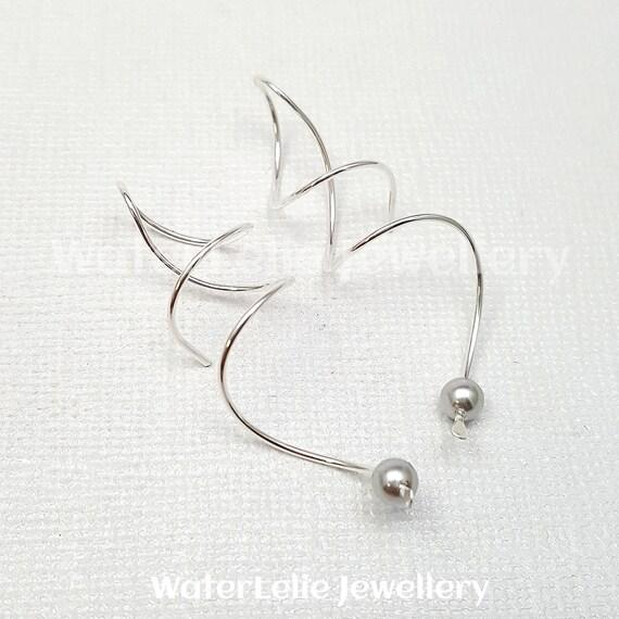 Pearl Earrings Curly earrings rose gold spirals wire earrings corkscrew earrings Sterling Spiral earrings Spin in earrings