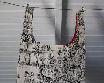 Reusable Grocery Bag, Shopping Tote Bag, Eco Friendly Bag, Cotton Shopping Bag, Market Bag, Skeletons in Saloon