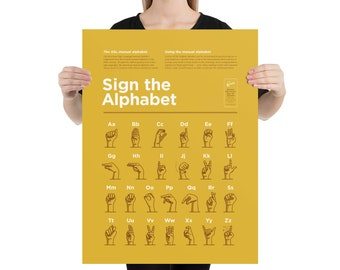 American Sign Language Alphabet – High Quality Print (Simple Style – Yellow)