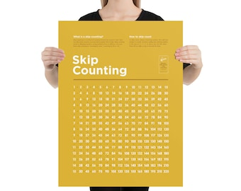 Skip Counting Poster – High Quality Print (Simple Style – Yellow)