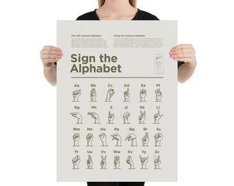 American Sign Language Alphabet – High Quality Print (Simple Style – Cream)
