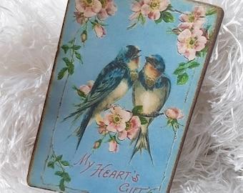 Bird Journal Card, Antique Postcard, Blank Card, Scrapbook, Junk Journal Card