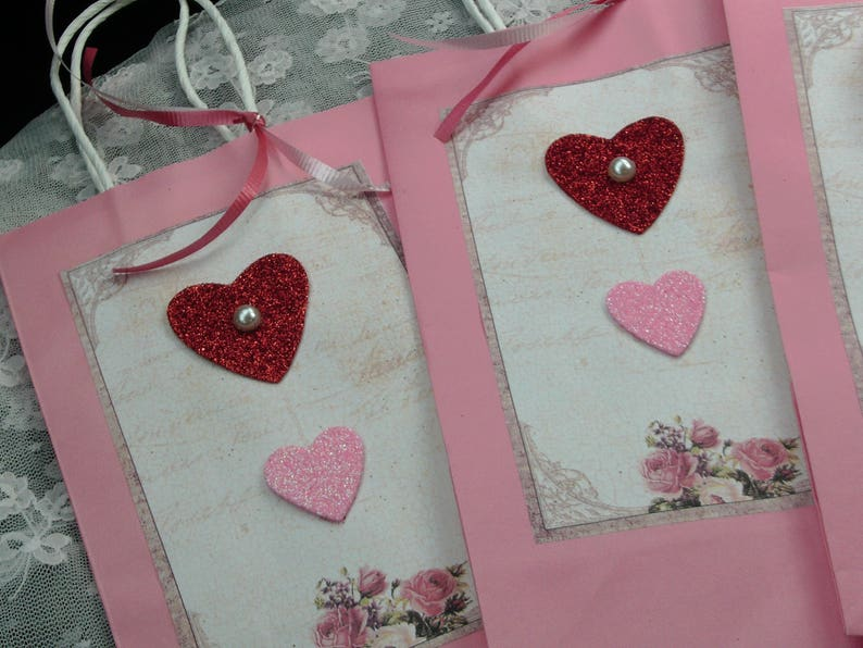 Wedding Gift Pink Bag with Handle and Ribbon Heart Bag Party Favor Bags Pink Gift Bag