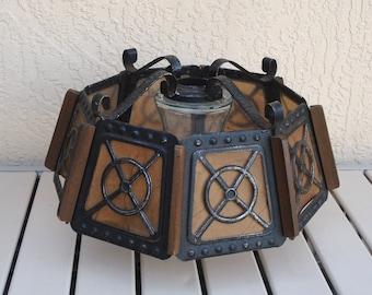 Metal Wood And Plastic Chandelier Floor Lamp Shade.