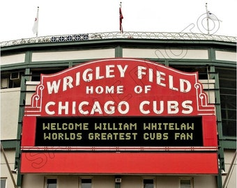 Personalized Wrigley Field Marquee Photo Photo 8x10 - Your Name In Lights Chicago Cubs