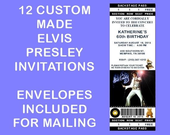 12 Personalized Elvis Presley Party Invitations Birthday Etsy